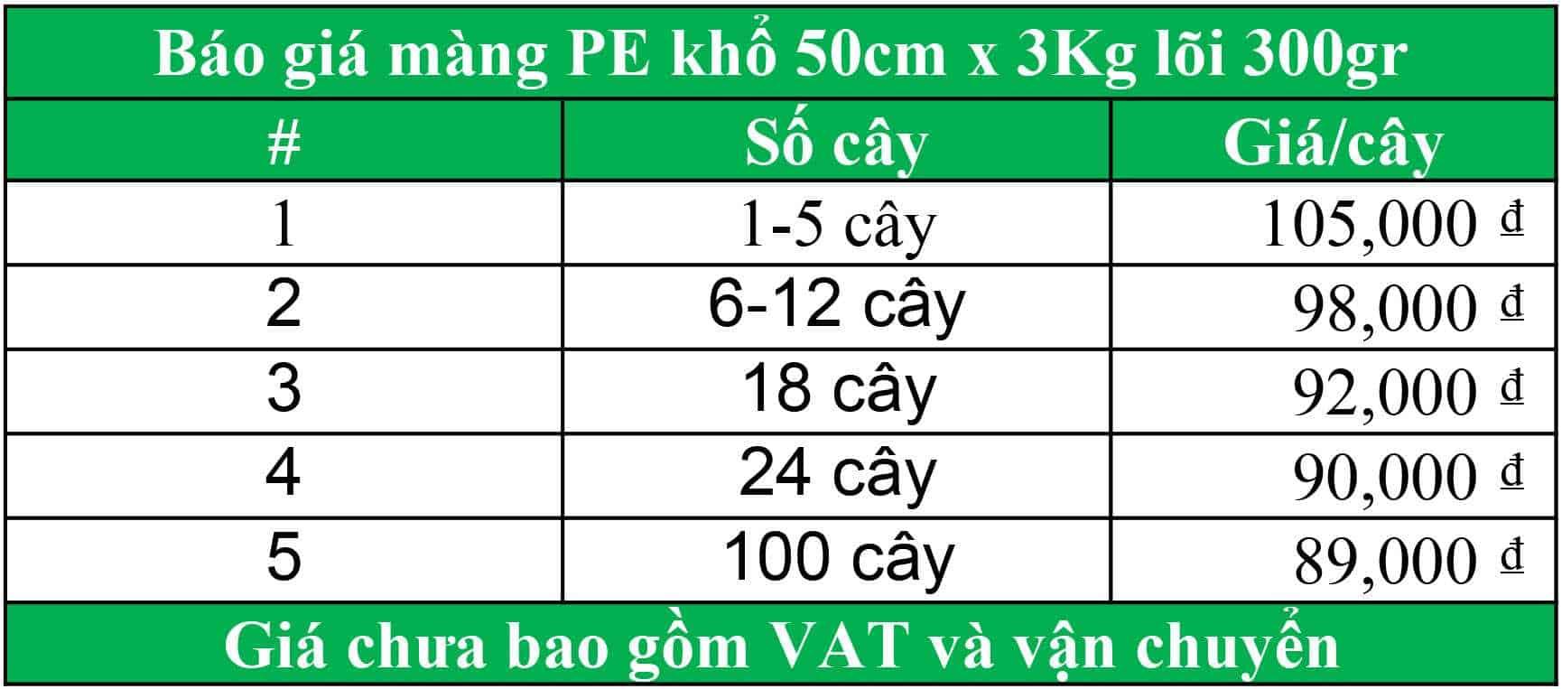 Màng PE khổ 50cm nặng 3kg